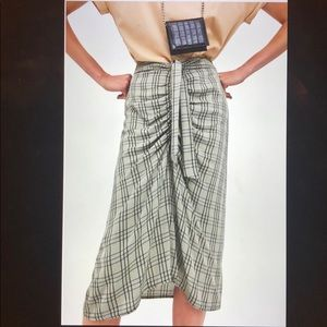 Zara Checked Skirt With Gathered Detail